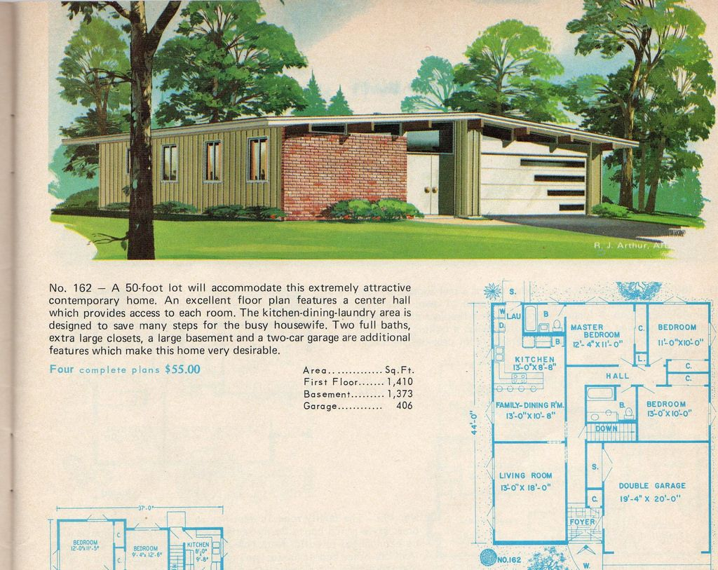 httpsflickrp7bchgm plan 162 garlinghouse modern garage doorsmodern house - 1950s Modern House Floor Plans