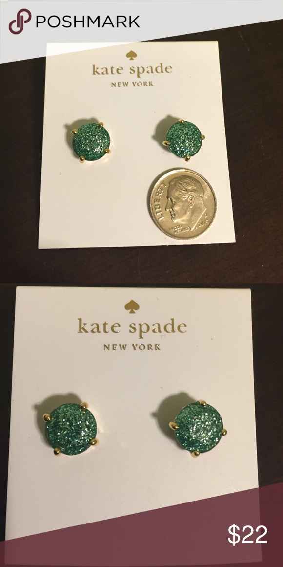 NWT Kate spade earrings NWT Kate spade earrings in a grace blue but sparkly! So adorable and perfect to dress up any outfit! No trades and please use offer button. kate spade Jewelry Earrings
