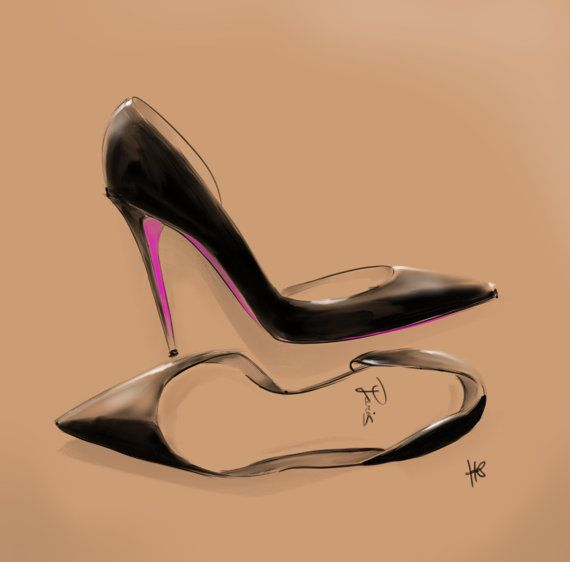 Painting  a pair of pumps - louboutin style