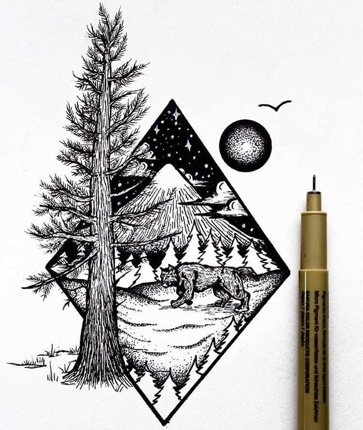 Photo Gallery Of Nature Based Drawings By Osman Mansaray All Art Is Hand Drawn Featuring Unique Birds Mountains Ri Ink Illustrations Mountain Tattoo Pen Art