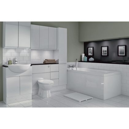 Schreiber Fitted Slimline Single Door White Handleless At Homebase Be Inspired And Make Your House A Home Buy Now