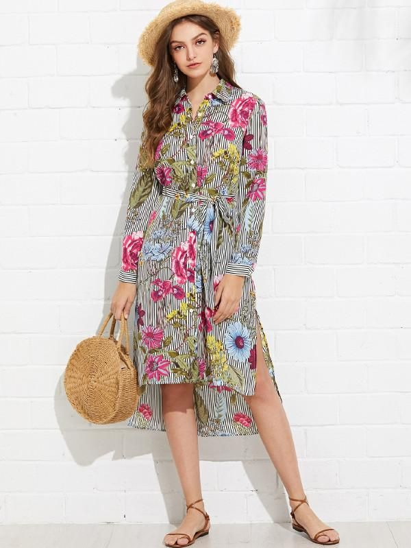 97c77e9ae459 Slit Side Mixed Print Dip Hem Shirt Dress