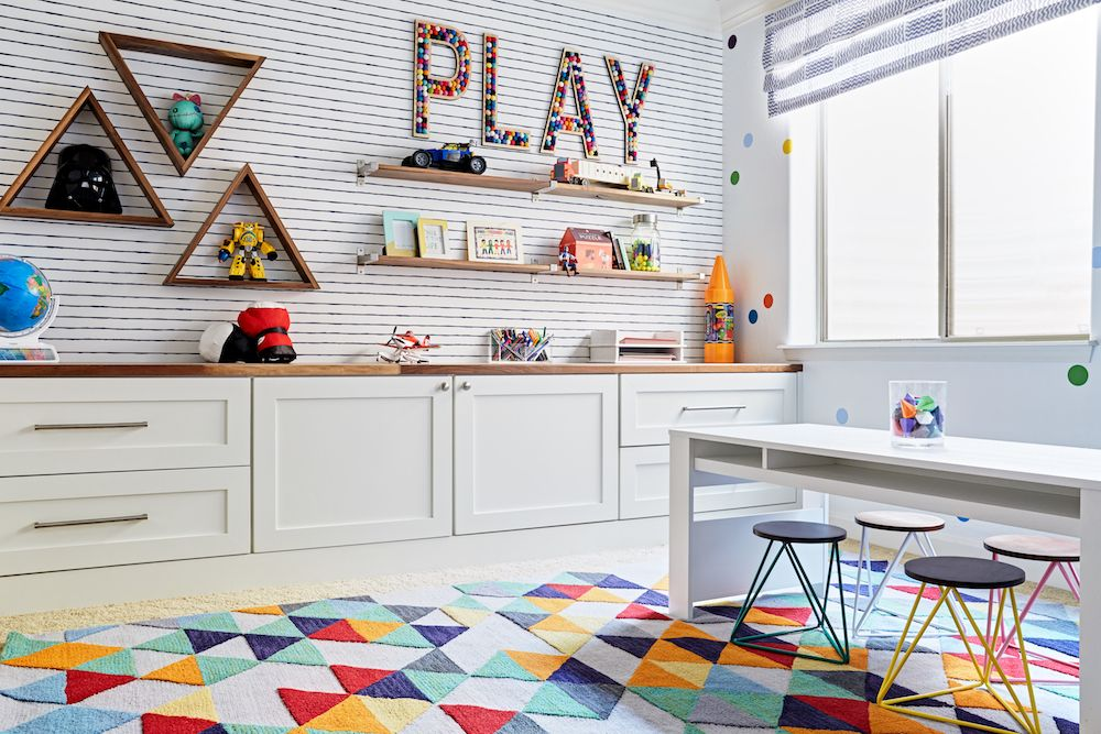 Colorful Playroom   J U0026 J Design Group   Love The Rug, And Land Of Nod Play  Table {and That Star Wars Display Is Pretty Cute!