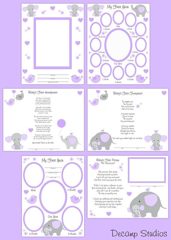 PRINTABLE SCRAPBOOK PAGES Purple Elephant Baby Girl First ...