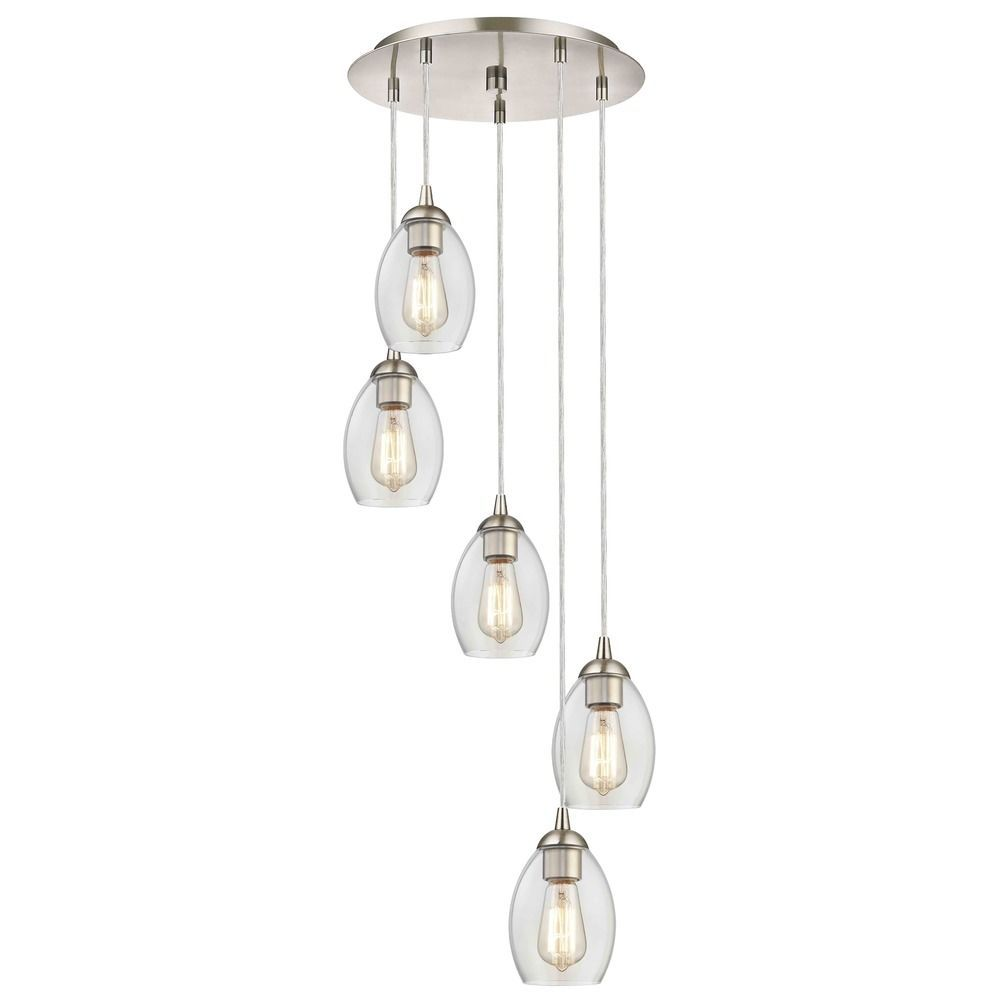 Satin Nickel Multi Light Pendant With Clear Oblong Glass And 5