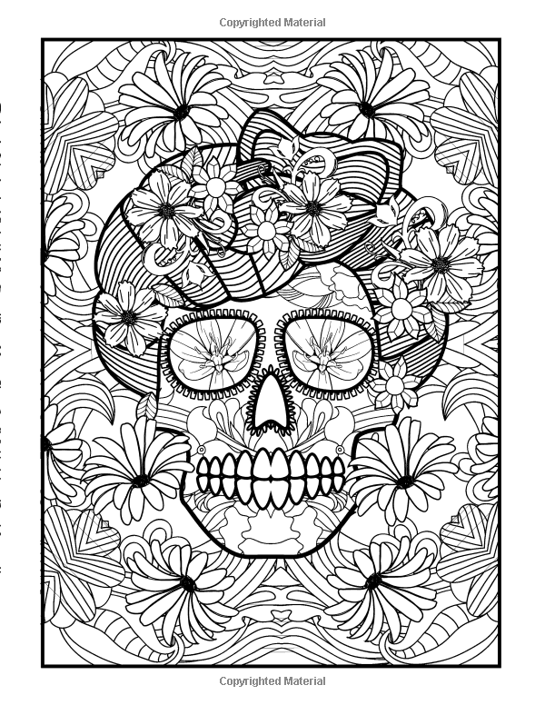Coloring Books For Grown Ups Day Of The Dead Girls Dia De Los Muertos Pages Sugar Skull Art Adults