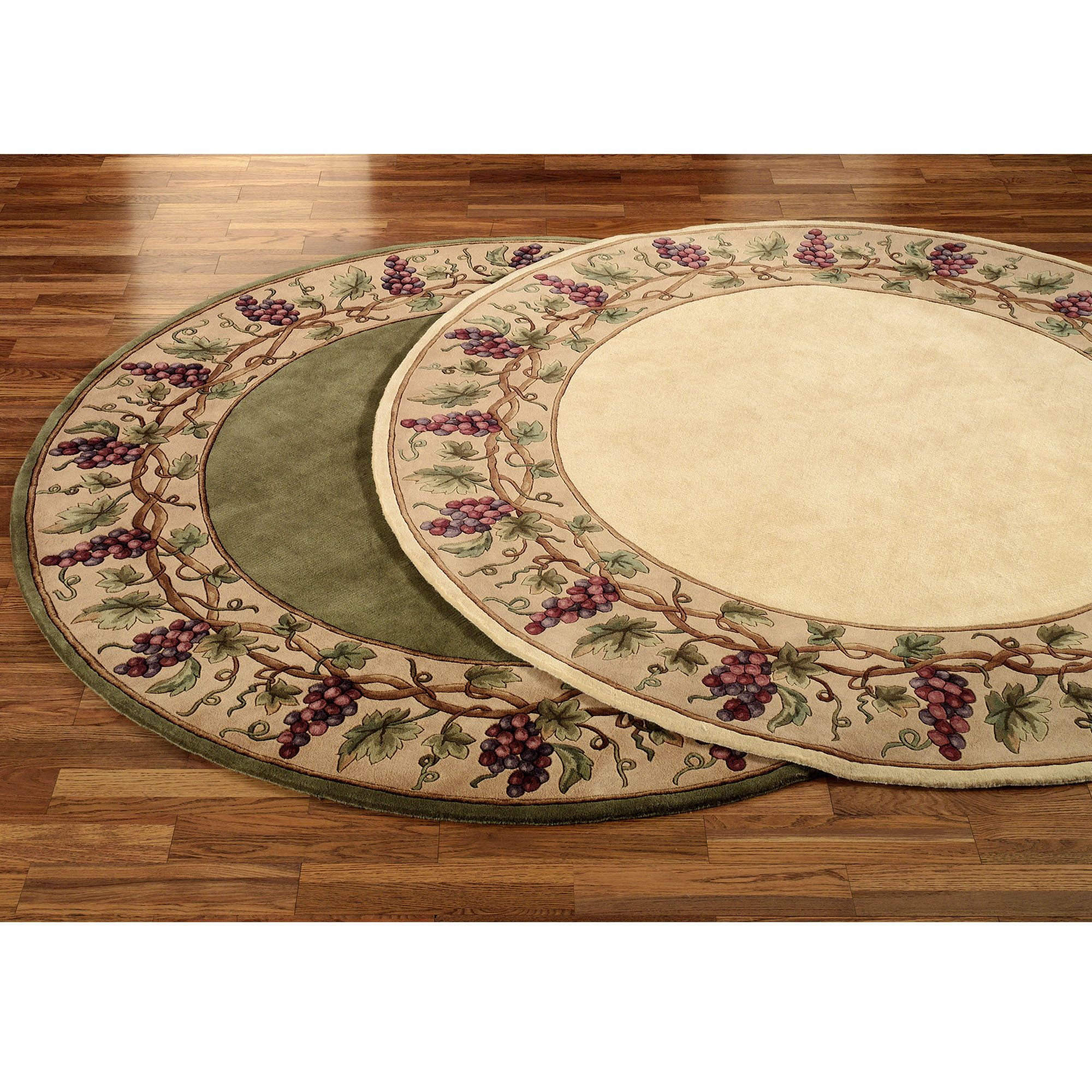 Touch Of Class Grapes Napa Border Rug Round Area Rugs Area Rugs