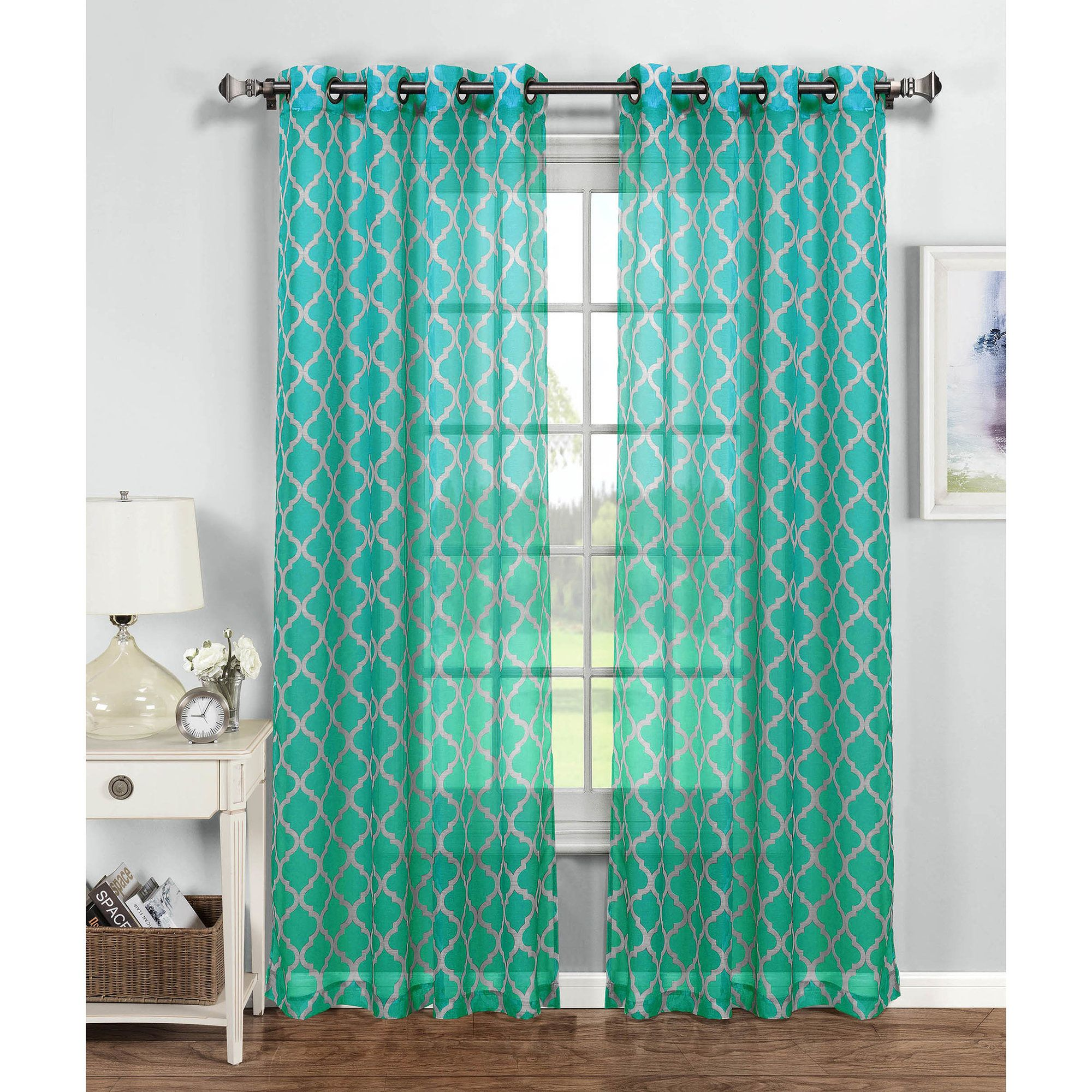 Window Elements Sheer Quatrafoil Printed Extra Wide 54 In W X 84 L Grommet Curtain Panel Turquoise White
