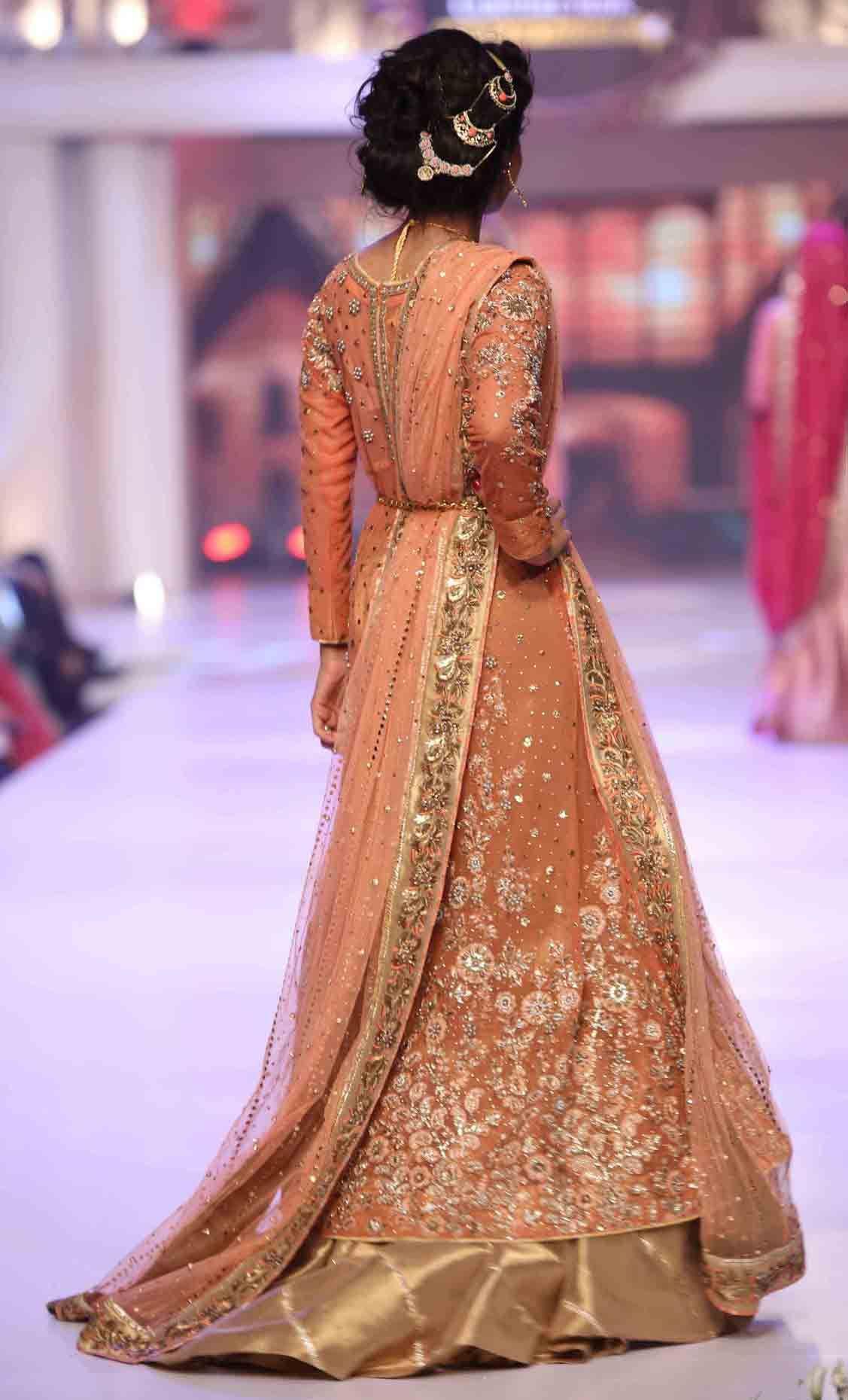 61591b086c9 Peach Pakistani bridal long tail maxi gown dress designs 2017