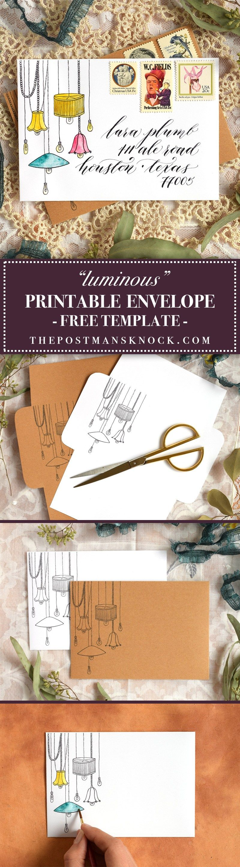 Luminous Printable Envelope Template  Envelopes Envelope Art