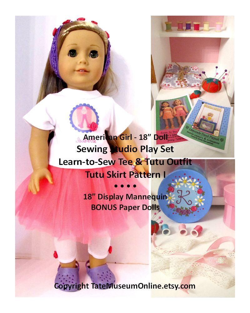 "American Girl Sewing Studio Play Set Pattern_TateMuseumOnline.etsy.com_ 18"" Doll Display Mannequin, Sewing Accsessories, Sewing Box, Tee & Tutu Outfit Patterns"