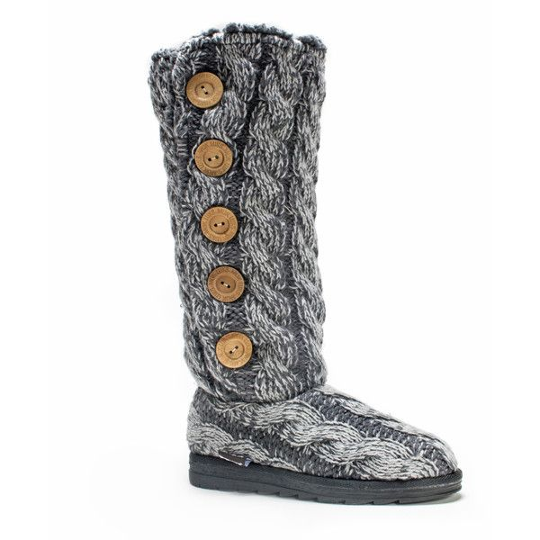 Muk Luks Women's Grey Malena Boot (63 CAD) ❤ liked on Polyvore featuring shoes, boots, grey, flat shoes, knee boots, grey tall boots, tall flat boots and grey boots