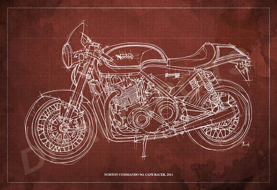 Norton commando 961 blueprint art print 8x12in to 60x41 in norton commando 961 blueprint art print 8x12in to by drawspots art motorcycle motogp malvernweather Gallery