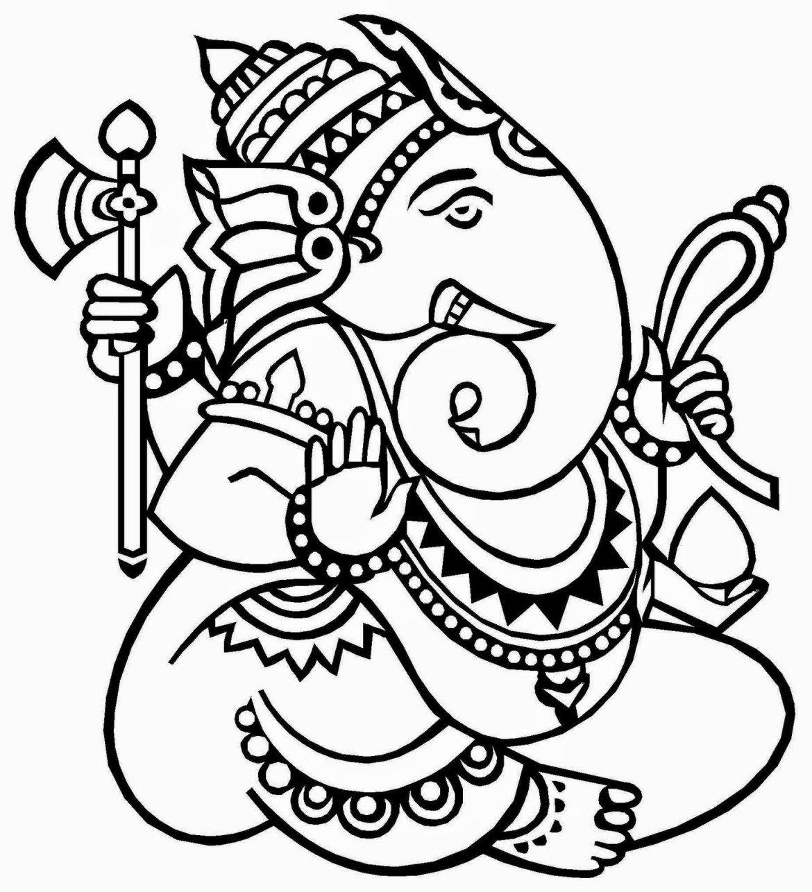Lord Ganesha Free Coloring Pages For Kids Lord Ganesh Coloring Book Kerala Mural Painting Hindu Art Glass Painting Patterns