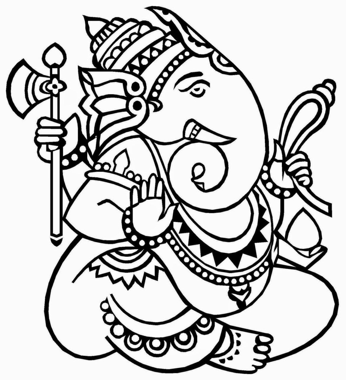Lord Ganesha Free Coloring Pages For Kids In 2020 Kerala Mural