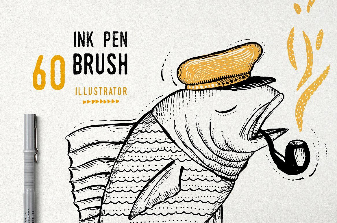 Free Ink Pens Ink Pen Brush Vector Adobe Illustrator Hand Drawn And Adobe