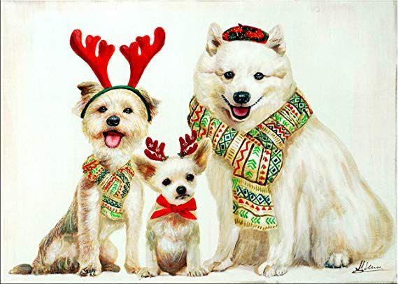 Weihnachtsdeko Hund.Kunst Ambiente Christmas Dogs Wandbild Martin Klein