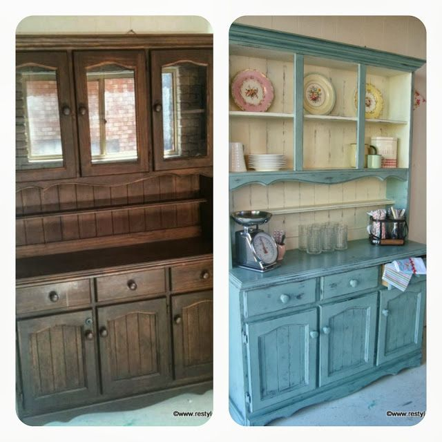 Restyled Vintage: Farmhouse Hutch Dresser In Duck Egg And