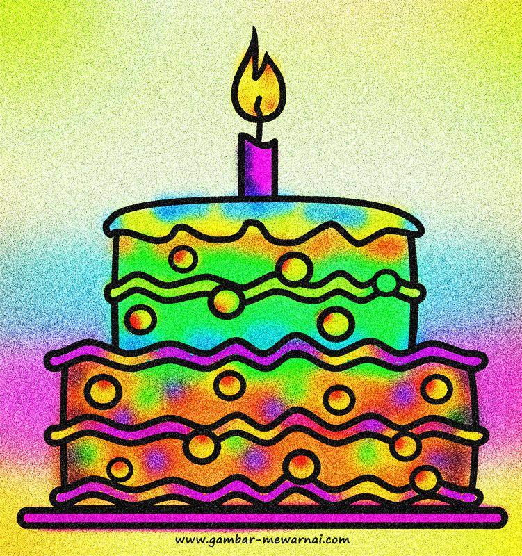 Contoh Mewarnai Gambar Kue Ulang Tahun Warna, Kue ulang
