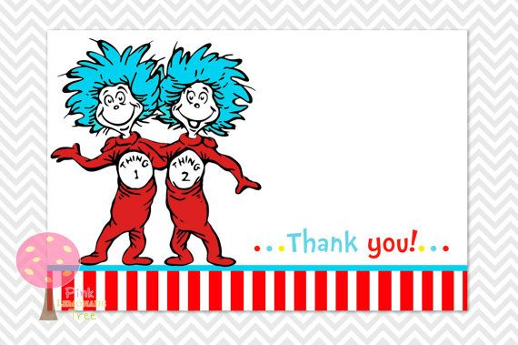 Thing 1 2 Dr Seuss Thank You Cards DIY Printable Baby Shower Birthday Party Stripes