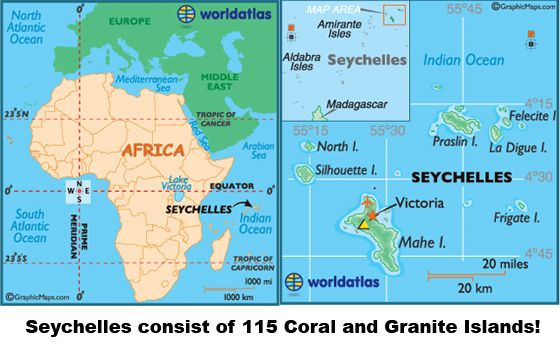 Seychelles are located Northeast of Madagascar in Indian Ocean