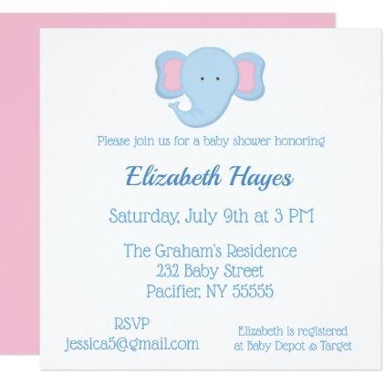 Blue Elephant Baby Shower Invitation Shower invitations - baby shower invite samples