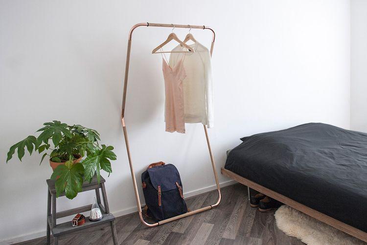 Kledingrek woodstock koper slaapkamer interieur lifestyle