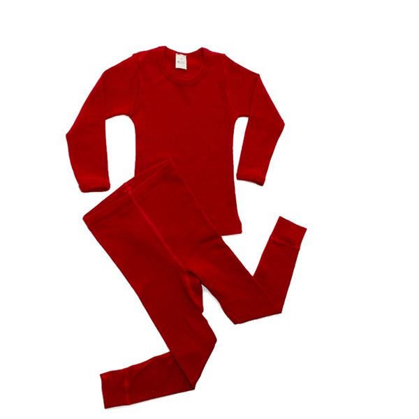 Hocosa Organic Merino Wool Long Johns Set In Red For Children Ages