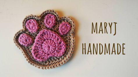 Free tutorial; crochet; paw print