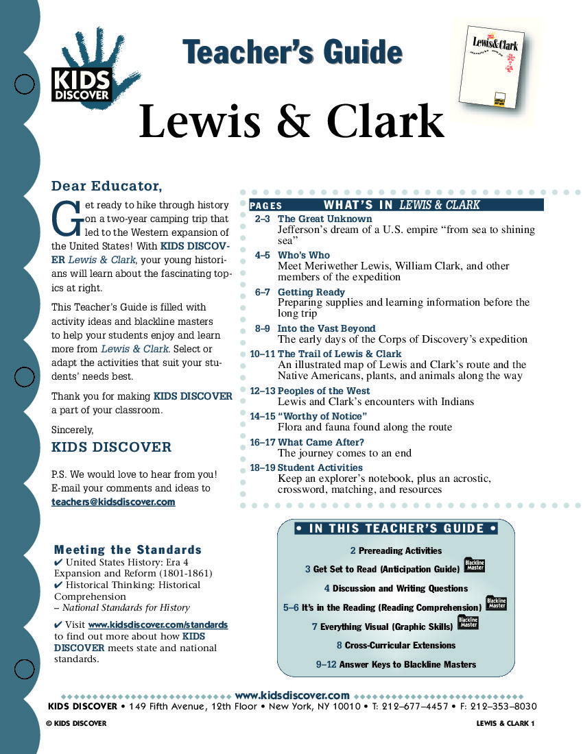 This free Lesson Plan for Kids Discover Lewis & Clark provides ...