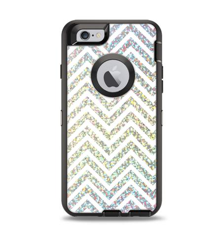 The White & Confetti Glitter Print Sharp Chevron Apple iPhone 6 Otterbox Defender Case Skin Set