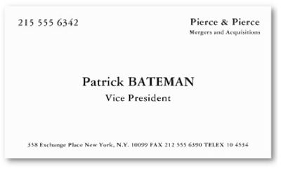 Style inspiration from patrick bateman in american psycho american american psycho business card google search reheart Image collections