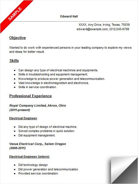 Electrical Engineer Resume Electrical Engineer Resume Sample Resumecompanion  Resume