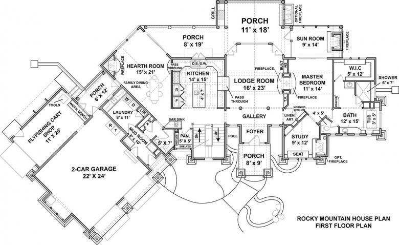 Rocky Mountain Lodge House Plan Luxury Mountain Style Floor Plan Elegant House Plans Rustic House Plans Mountain Lodge Mountain House Plans