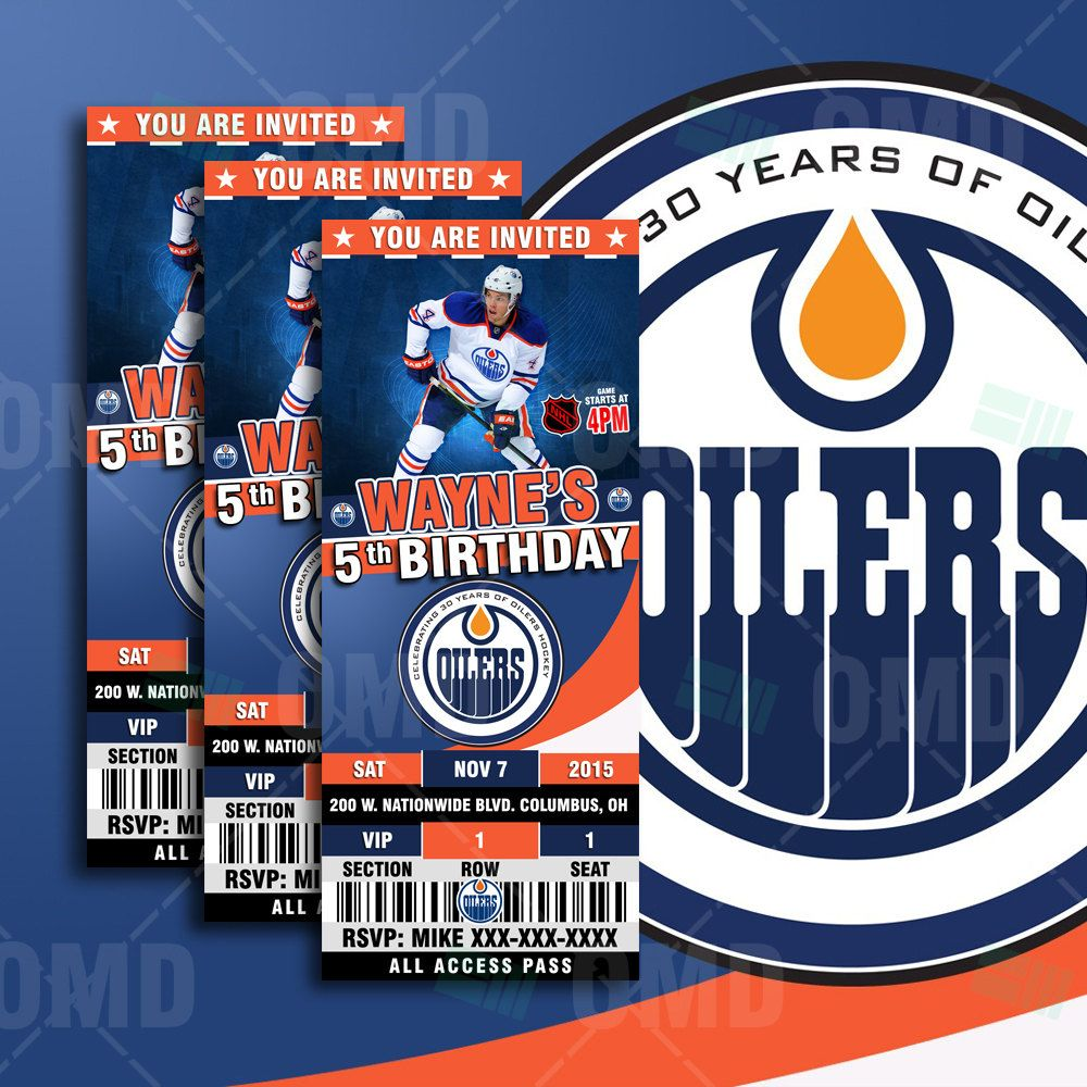 25x6 Edmonton Oilers Hockey Sports Party Invitation Oilers – Hockey Birthday Party Invitations