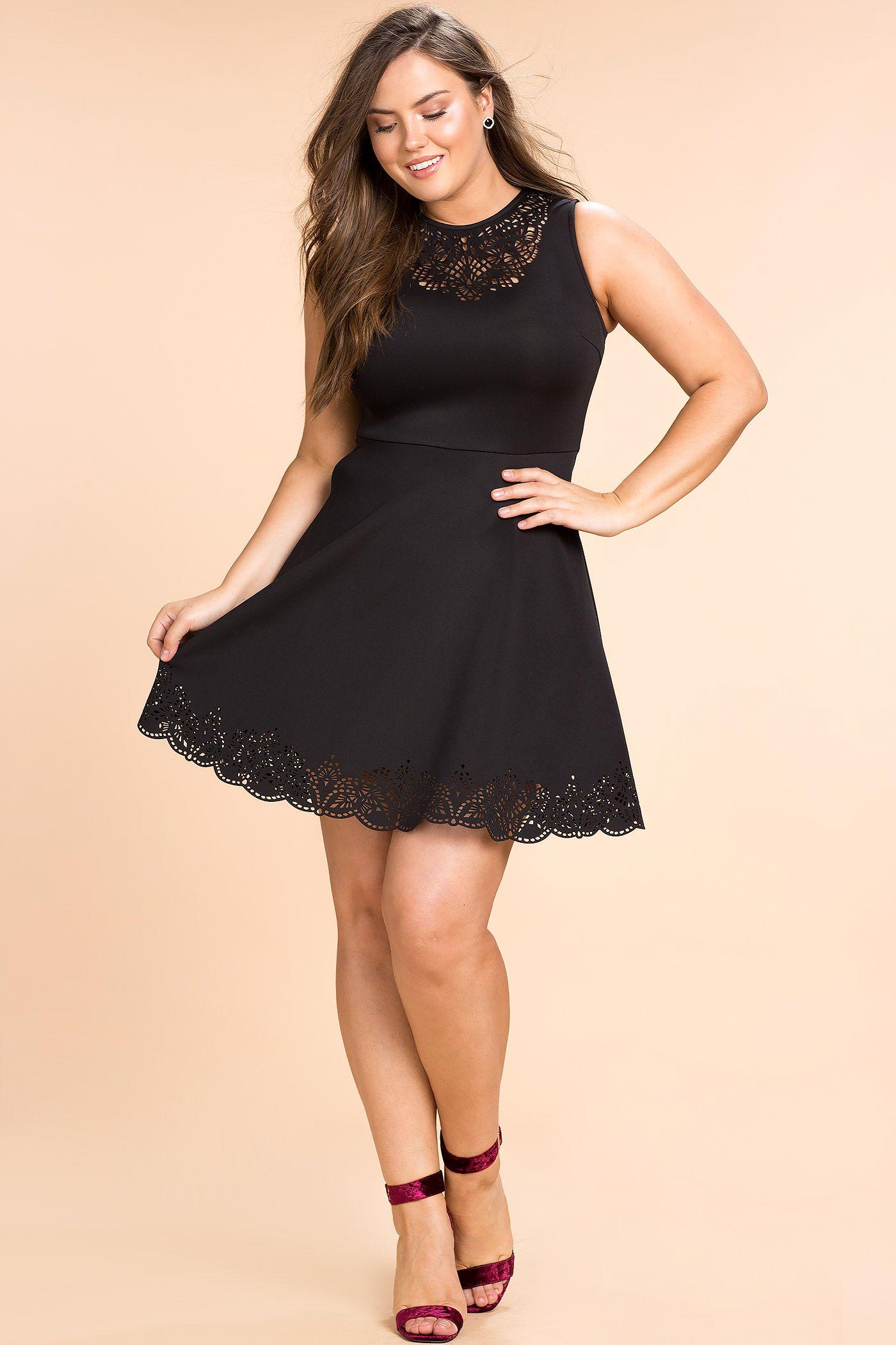 9d26390d2082 Women's Plus Size Party Dresses | Laser Cut Fit And Flare Dress | A'GACI