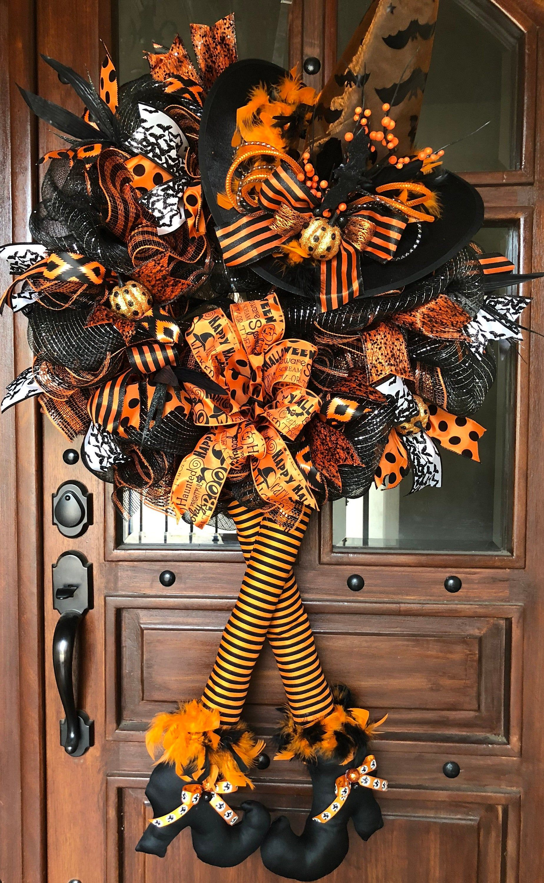 Photo of Halloween Witch Mesh Wreath, Fall Wreath, Front Door Wreath, Witch with Legs, Witch Hat,Witch Wreath, Wicked