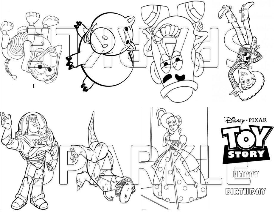 Toy Story Mini Coloring Book Goodie Bag Favor Party Bag Etsy Toy Story Centerpieces Coloring Books Goodie Bags