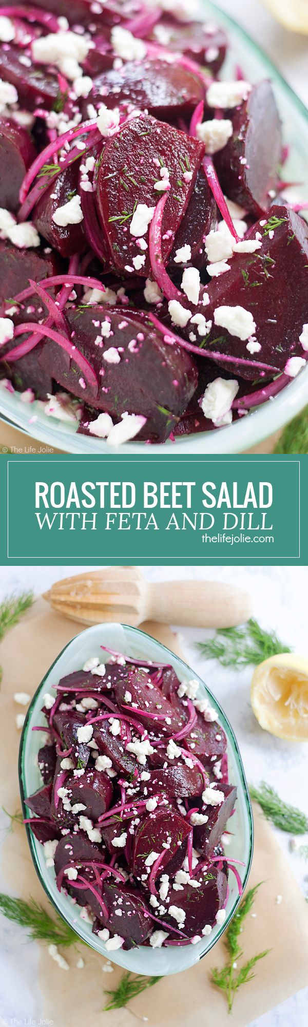 Try this Roasted Beet Salad with Feta and Dill: it's an easy side dish recipe and is a great alternative to the usual holiday sides. Served cold with citrus and olive oil as a dressing it is a healthy and fresh option for any season!