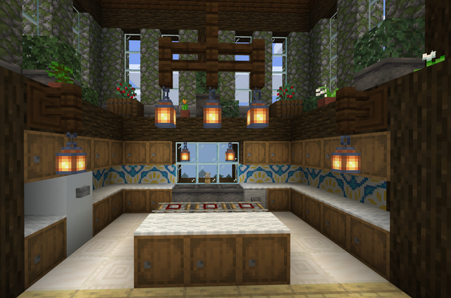 Kitchen Design With Glazed Terracotta Back Splash And Lantern