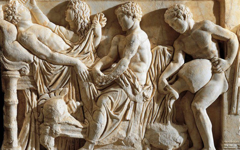 """Marble sarcophagus with relief depicting legend of Achilles, from Tyre, Lebanon (detail, Achilles before Patroclus' bed). """"Madeline Miller Discusses 'The Song of Achilles'"""" article by Jane Ciabattari on thedailybeast.com."""