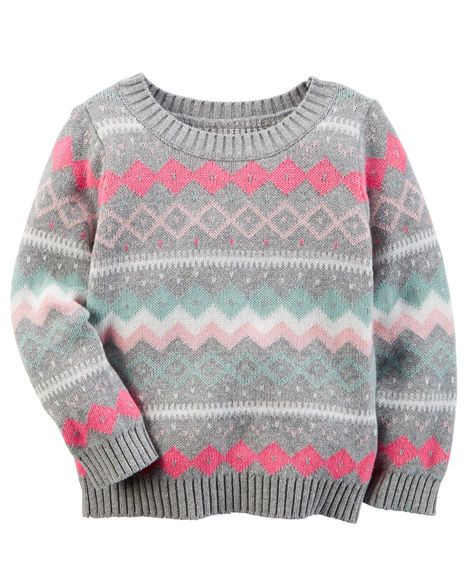 81811f48d Kid Girl Fair Isle Sweater from Carters.com. Shop clothing ...