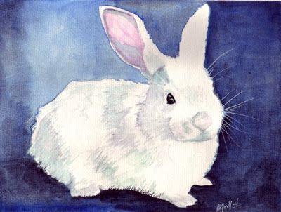 Creation De Lapin Blanc Peinture Aquarelle Lapin Par Bunny