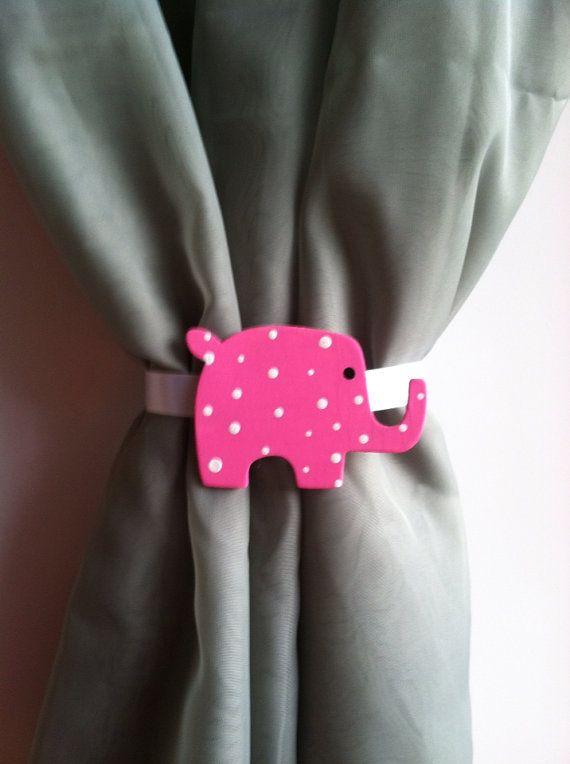 Handpainted Curtain Tie Backs Pink Elephant Nursery Curtain Tie Backs Baby Nursery Decor Pink Elephant Nursery Elephant Nursery Curtains Elephant Nursery