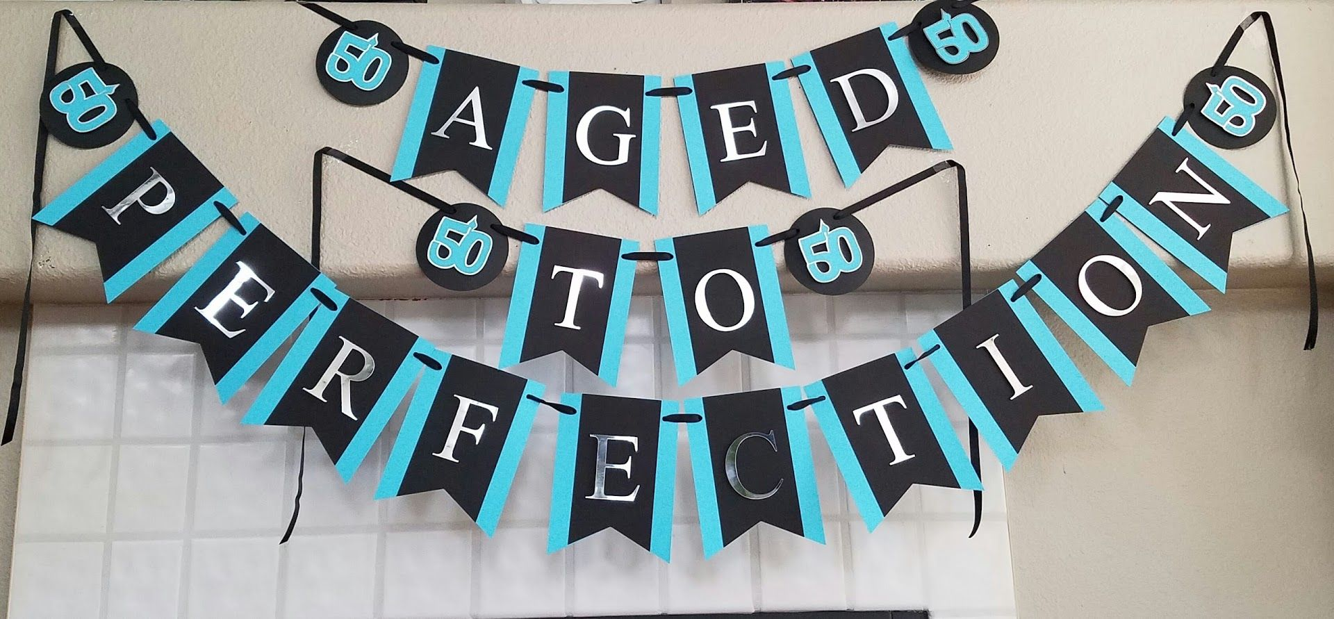 Black turquoise and silver 50th Birthday Banner 50th Birthday