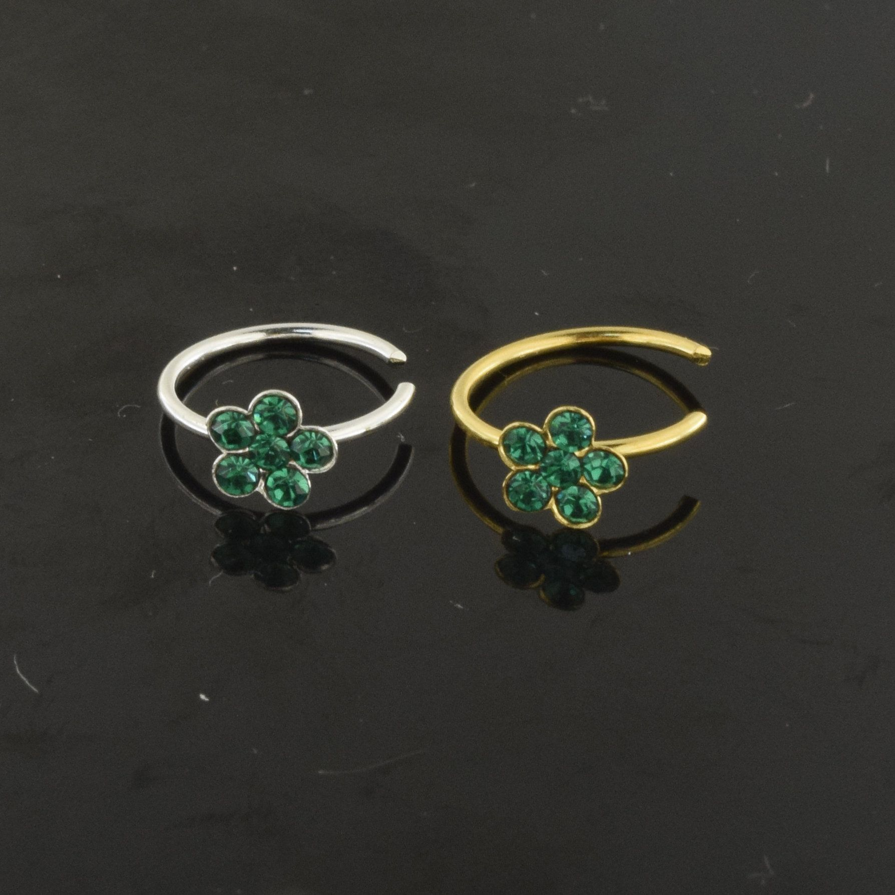 925 sterling silver flower nose ring with emerald green