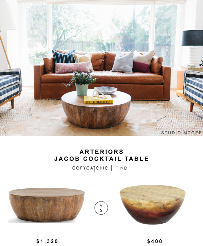 Arteriors Jacob Cocktail Table Coffee Table Round Wood Coffee