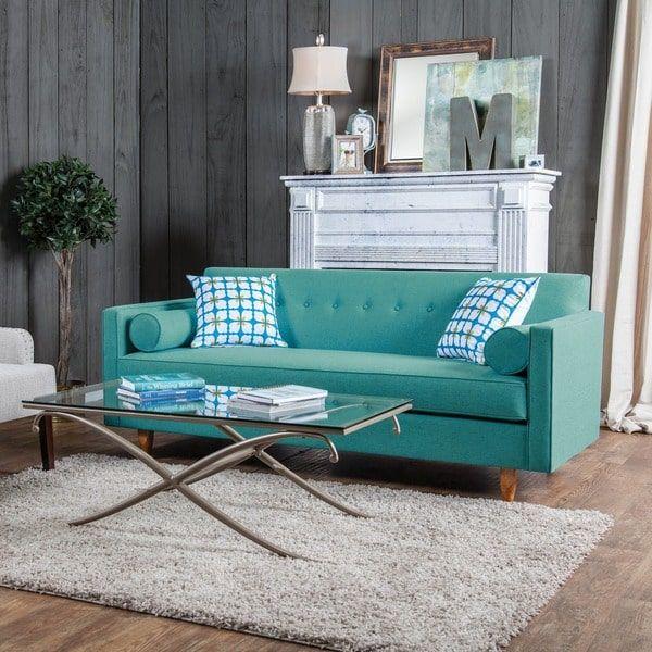 Furniture Of America Idalia Modern Mid Century Turquoise Blue Sofa