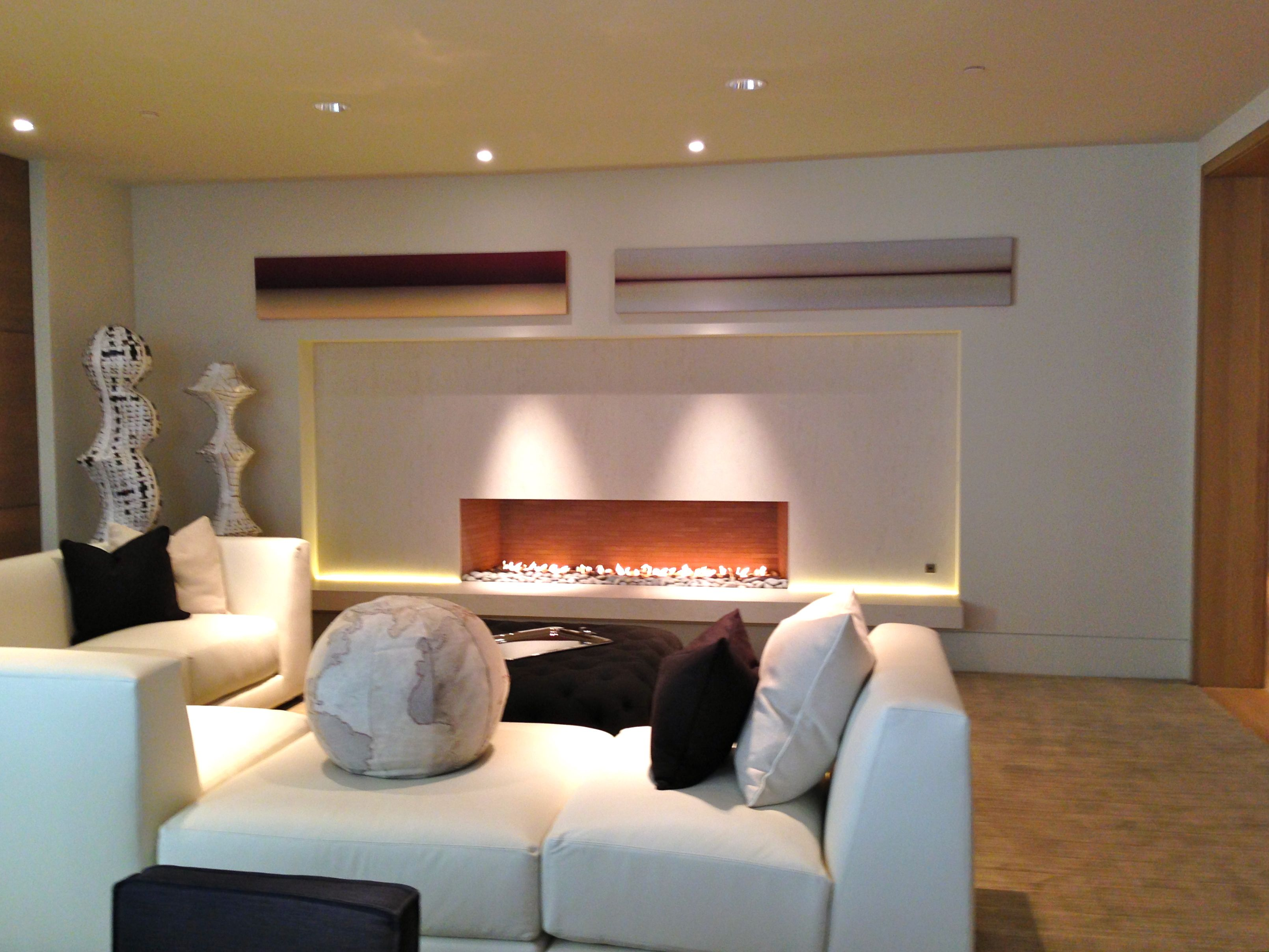 8 ft long linear open living room fireplace