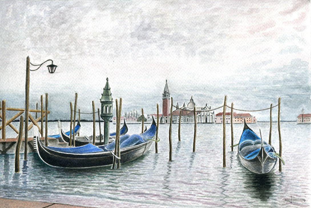Aquarelle Unique Et Originale San Giorgio Maggiore Et Gondoles